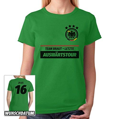 JGA Vrouwen Shirt Combi Team Bruid Laatste uitwedstrijd gewenste datum vrouwen T-shirt