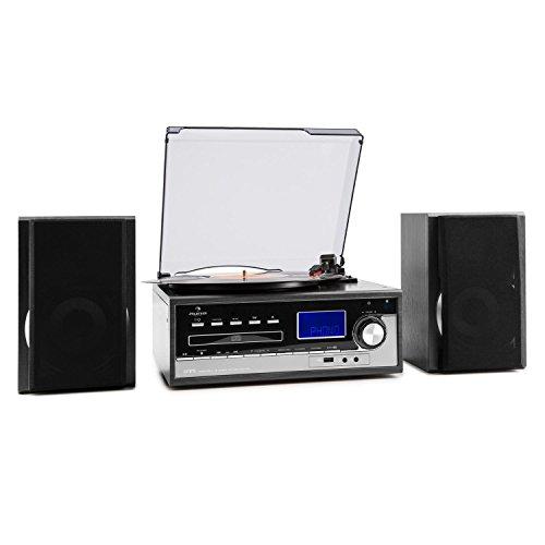 auna Blackwood Multimedia-Anlage mit Plattenspieler und Riemenantrieb Sound Edition (USB, CD-Player, AUX, MP3, Kassettendeck, max. 45 U/min, Lautsprecher, Bassreflex, UKW-Radiotuner) schwarz-Silber