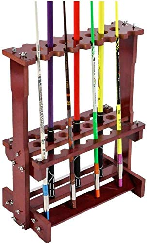 Taoke Massivholz-Multifunktionsstand Pool Cue-Rack, Snooker Queuen Unterstützung, for Schulen, Häuser, Clubs, Easy Montage/Holzmaserung Farbe 8bayfa (Color : Wood Grain Color, Size : 96x28x63cm)