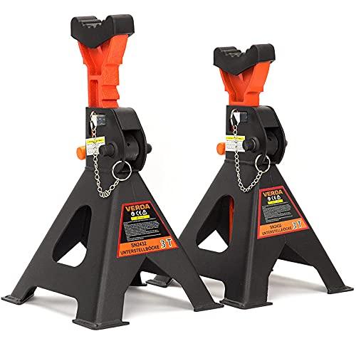 VERDA Unterstellböcke Stützböcke Wagenheber Ständer Modellwahl (3T mit Sicherung und Gummi)