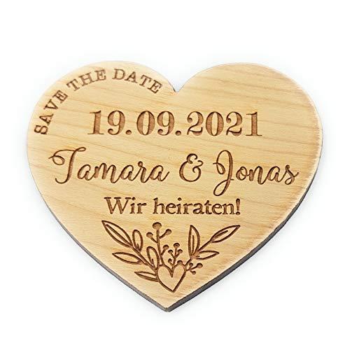 Save the Date Magnete für Hochzeit, personalisierte Herz Magnete aus Holz, 5 St.