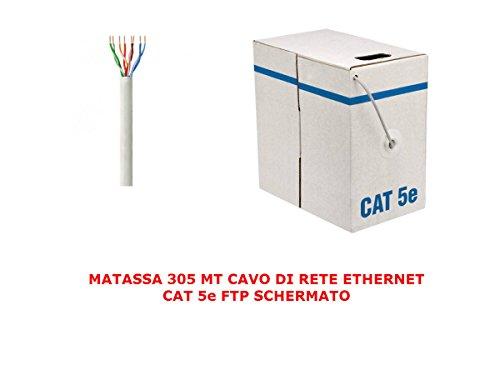 My smart shop MATASSA 305 MT Metri Cavo di Rete FTP Cat 5E LAN ETHERNET 5 E Internet SCHERMATO Bobina Internet Router Access Point