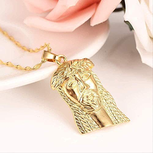 ZJJLWL Co.,ltd Collar Hip Hop Bling Cuba Cadena de Color Dorado Cool Mens Jesus Colgante Collar para Hombres