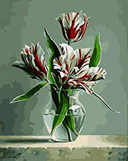 Paint by Numbers kit, Wooden Framed, DIY Oil Painting - Tulips in a vase (16x20 inch.)