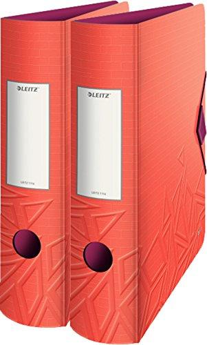 Leitz Qualitäts-Ordner 180° Active Urban Chic, A4, abgerundeter Rücken, 8,2 cm Breite, Gummibandverschluss (rot   Doppelpack)