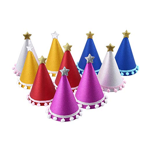 C CRYSTAL LEMON Pack of 10, Party Hats, Birthday hat for Adults and Kids (Universal, Multicolor)