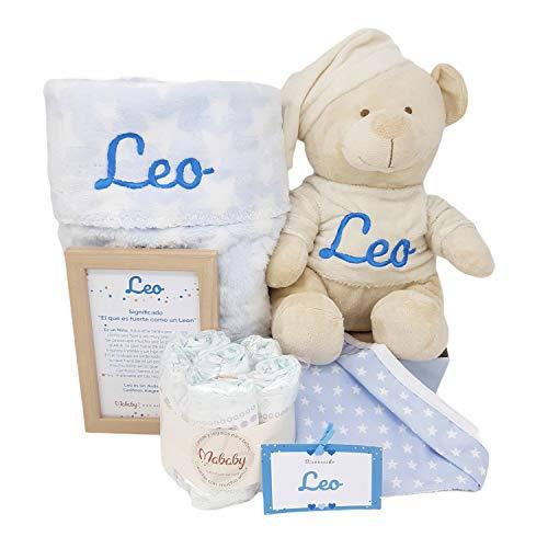 Teddy de Mababy| Regalo personalizado bebe | Cesta de Recien Nacido personalizada … (celeste, 0-3 meses)