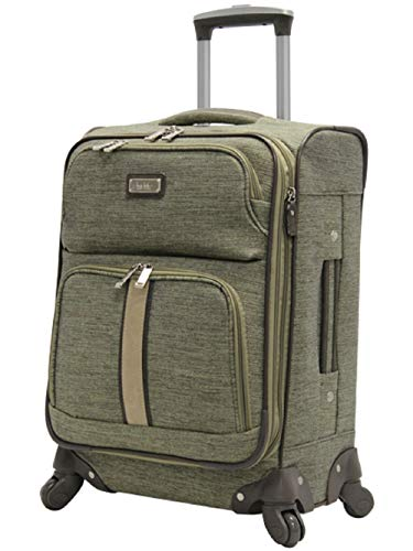 Nicole Miller New York Cameron Luggage Collection - Designer Lightweight Softside Expandable Suitcase- 20 Inch Carry On Bag with 4-Rolling Spinner Wheels (Cameron Green)
