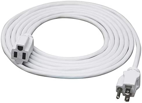 Clear Power 12 ft Indoor Outdoor Extension Cord 16 3 SJTW White Water Weather Resistant Flame product image
