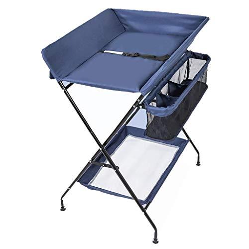 Tables à langer Unités Portable Pliant for Les Espaces de Massage Enregistrer, Station Diaper Nursery Organisateur for Bébé Cross Style de Jambe ( Color : Blue )