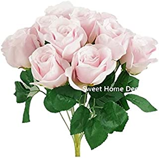 Sweet Home Deco 16'' Silk Rose Artificial Flower Bouquet (12 Stems/12 Flowers) Wedding Home Decorations (Pale Pink)