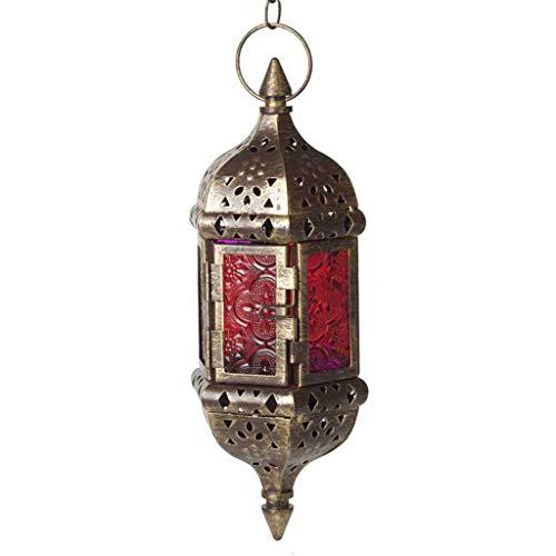 Xurgm Retro Moroccan Hanging Candle Lantern Hollow Metal Glass, G