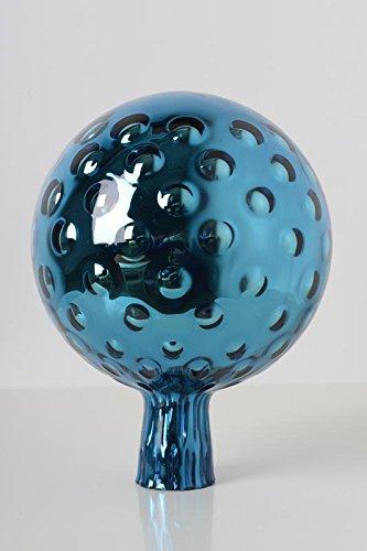 Rosenkugel aus Glas für den Garten – perfekte handgemachte Garten-Dekoration für Ihr Blumenbeetin vielen Farben, Formen und Größen, Hoche 23cm und Durchschnittlich 18cm, Türkis trauben Optik