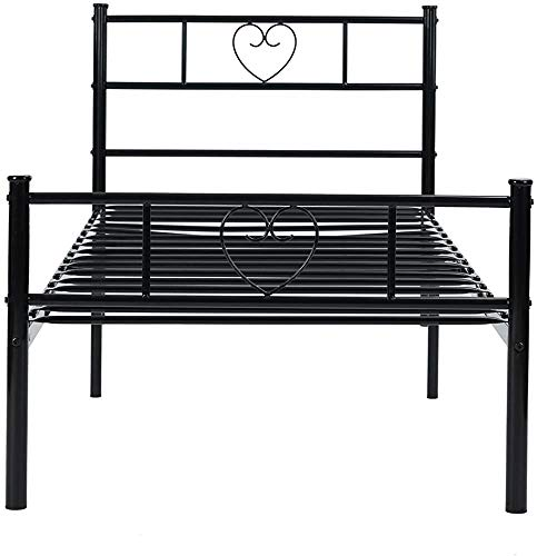 Metal Single Bed Heart Frame, can accommodate Children or Adults, Large Storage Space,B- Simple(90x190cm)