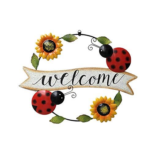 TETHYSUN, cartello di benvenuto per porta d'ingresso in metallo vintage farfalla girasole segno di benvenuto decorazioni per porte autunnali