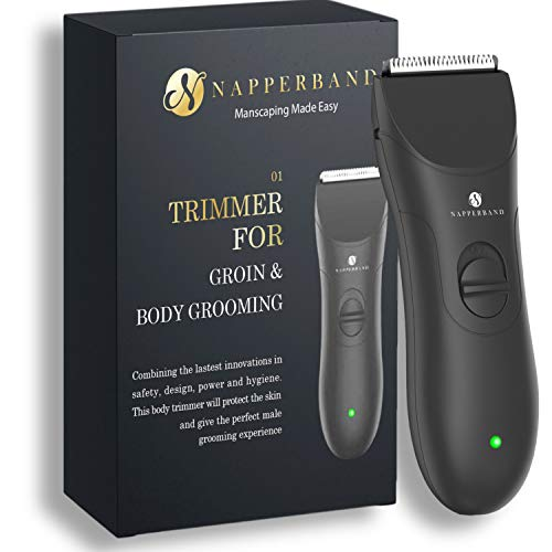 Pubic Hair Trimmer. Groin, Body Shaver and Groomer for Men. Private Parts Beard Chest Head. Tidy Balls with Our Rechargeable Manscaping Made Easy Grooming Kit with Replaceable Ceramic Safety Blades