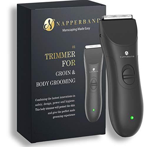 Inalámbrico de Groin Pubic Hair Trimmer Manscaping hecho fácil kit para hombres mojado y seco Cuerpo Grooming Clippers con cuchillas de seguridad de cerámica reemplazables