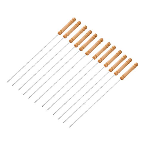 Buy Bargain uxcell Barbecue Skewers, Barbecue Twist String with Wooden Handle BBQ Stick Needles Outd...