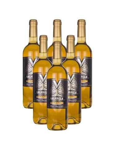 Valhalla Hidromiel Caja de 6 Botellas de Doble Miel | Bebida Ecológica, Aroma Floral, Higos Secos y Pasas, Sabor Dulce, Intenso y Persistentes, Botellas de 75 cl