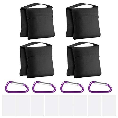 Neewer 4-Pack Bolsas de Arena de Alta Resistencia con Diseño de Alforja para Fotografía Video Soporte de Estudio Patio Trasero, Bolsa de PP Transparente y Clips Incluidos(Negro)