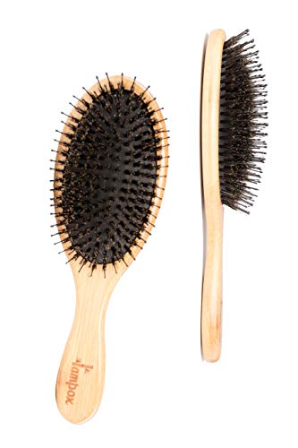 lampox® Bambus Haarbürste mit Wildschweinborsten Kopfmassage Haarpflege