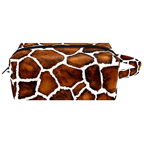 Animal Giraffe - Bolsa de maquillaje de piel de microfibra con cremallera