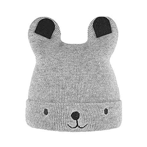 LeftSuper Sombrero de Punto para bebé Sombrero de Dibujos Animados de Oso cálido de Invierno Sombrero de Oso de Punto Suave Gorro de bebé