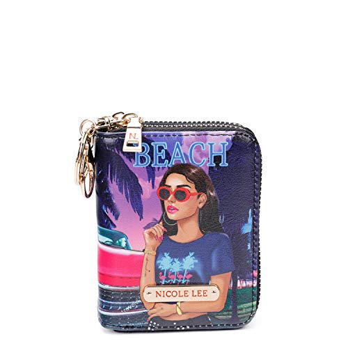 Doulble Zipper Fashion Stampato ID, Carta di Credito, Money RFID Card Case Organizer, Piccolo con Portachiavi per portare le chiavi - viola - taglia unica
