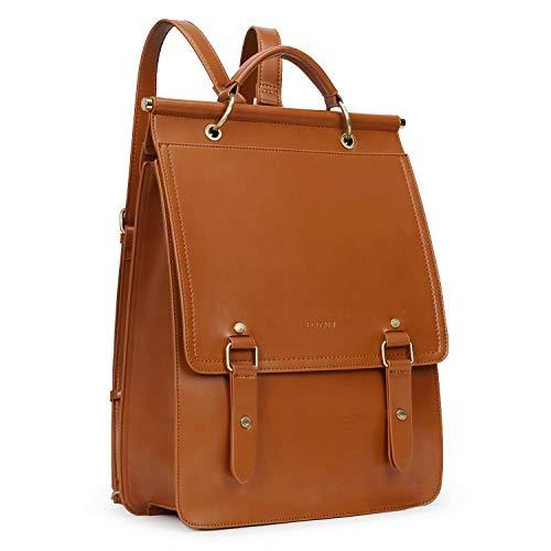 ECOSUSI Daypack Damen Rucksackhandtasche Schulrucksack Mädchen Leder Laptop Rucksack für 14,7 Zoll Anti Diebstahl mit Laptopfach Wasserabweisend Braun