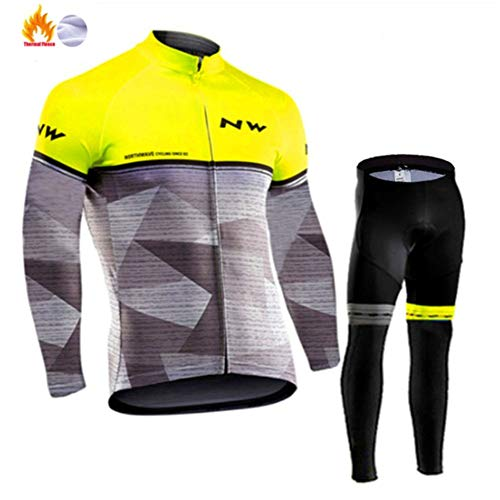 Traje De Ciclismo Para Hombre De Forro Polar Térmico Resistente Al Viento Chaqueta De Manga Larga + Pantalones Para Ciclismo Equitación Running Adecuado