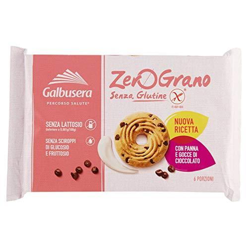 Galbusera ZeroGrano senza Glutine Biscotti con Panna e Gocce di Cioccolato, 220g