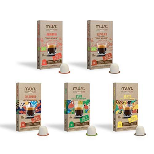 MUST 50 Cápsulas Café Variety Pack BIO Degustación, 10 Paquetes de 10 Cápsulas, Cápsulas compostables Compatibles con la Máquina Nespresso, Made in Italy, Reciclable