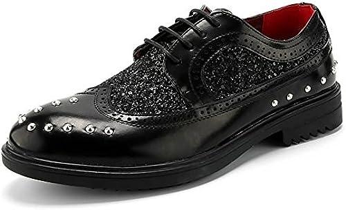 Z.L.F Herren Formelle Schuhe Flache Ferse Pinsel Mode Schwarz Farbe PU Leder Lace Up Oxford Schuhe (Farbe   Schwarz Größe   7.5MUS)
