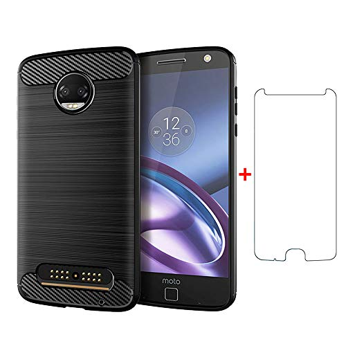 Phone Case for Moto Z2 Force with Tempered Glass Screen Protector Cover and Silicone Slim Thin Full Body Cell Accessories Rubber Motorola MotoZ2Force Droid MotoZ2 Z2Force Z 2 2Z Cases Men Women Black