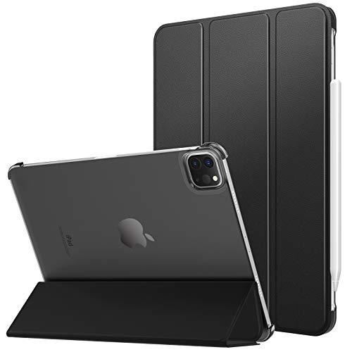 MoKo Funda Compatible con Nuevo iPad Pro 11 2021, iPad Pro 3.ªGeneración[Admite Carga Apple Pencil] Transparente Ultra Delgado Soporte Protectora Plegable Cubierta Auto-Sueño/Estela, Negro