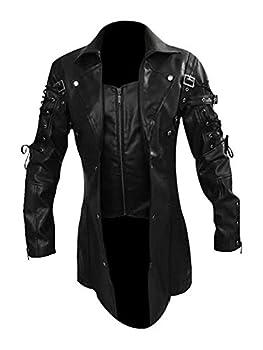 Goth Matrix Trench Coat Gothic Steampunk men s Black Steampunk Gothic Leather Coats  XS PU Leather