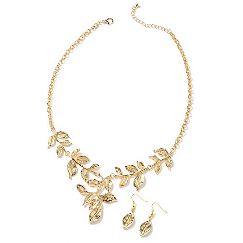 Shop LC Delivering Joy Goldtone ION Plated Yellow Gold Stainless Steel Leaf Earrings Necklace Fashion Jewelry Set 22