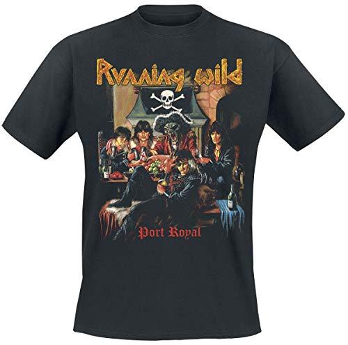 Running Wild Port Royal Hombre Camiseta Negro L, 100% algodón, Regular