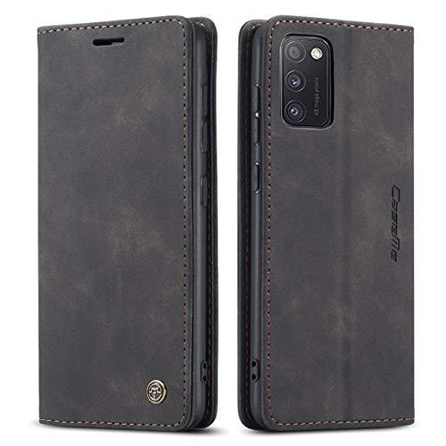 mvced Handyhülle Kompatibel mit Samsung Galaxy A41,Premium Leder Flip Hülle Schutzhülle mit Standfunktion,Schwarz