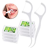 Hilo Dental – Meersee 180 piezas Seda Dental Palo Hilo Dental Pre-cortadas Seda de Dientes, Pack de 6