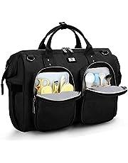 Pomelo Best Wickelväska med vattentätt skötunderlägg och 2 barnvagnar krokar justerbar axelrem multifunktionell axelväska resväska för resor (svart)