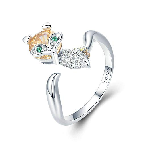 JIARU 925 Sterling Silver Ring for Women Adjustable ring fashion simple ring and Cute little fox zircon rings for Girl Open Finger Ring Gift