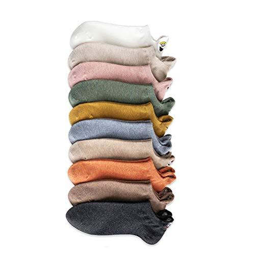 Mankoo Calcetines de Tobillo Calcetines 4 Pares / 10 Pares de Calcetines de Mujer de Color Aleatorio Calcetines de algodón Desodorante Absorbente de Sudor Transpirable Invisible