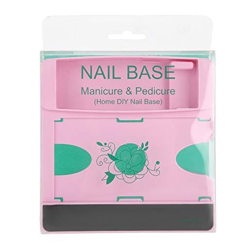 Professionnel Nail Printing Organizer Manucure Emboutissage Gel Polish Container, Boîte de rangement pour outil d'impression d'art pour les ongles, Boîte de rangement pour modèle d'ongle(Rose)