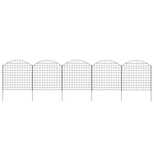 BIGTO Garden Arched Pond Fence Set,Steel wire with powder coating,Each panel sizes: 775 x (640-785) mm,77.5x78.5 cm Green,Support post size: 5,7 x 940 mm,includes 5 mesh panels and 6 postsm