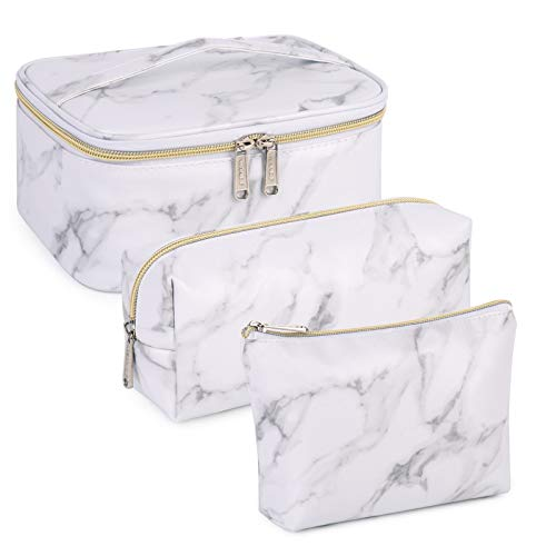 WANDF 3 Pieces Makeup Bag Toiletry Bag Portable Cosmetic Pouch Travel Organizer Water-resistant for Women (Marble White)