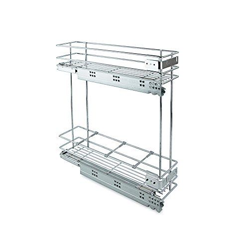 Emuca - Removable bottle trolley with soft closing, 200 mm cabinet, silver