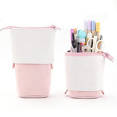 MSUIINT Estuche de lápiz de gran capacidad, bolsa de almacenamiento grande de pie, soporte telescópico para bolígrafos Kawaii papelería bolsa de cosméticos de maquillaje