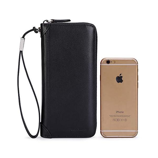 Women Leather Wallet Rfid Blocking Large Capacity Zipper Around Travel Wristlet Bags 2