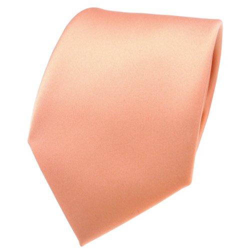 TigerTie Designer Satin Krawatte in lachs orange einfarbig uni